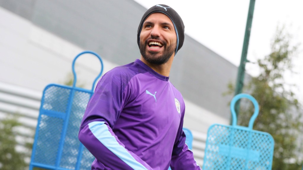 ALL SMILES: Sergio Aguero clearly enjoyed today's training session