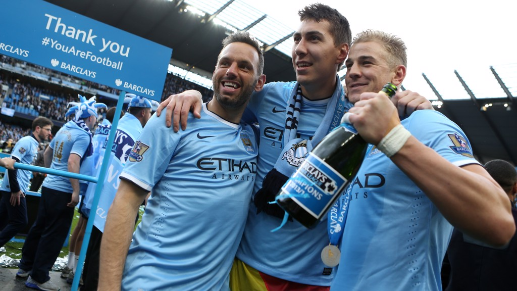 HAPPY TIMES: The City keepers celebrate the title in 2014