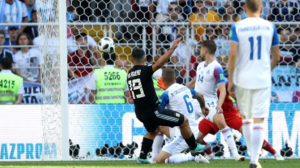 PICK THAT ONE OUT! Sergio Aguero scores for Argentina