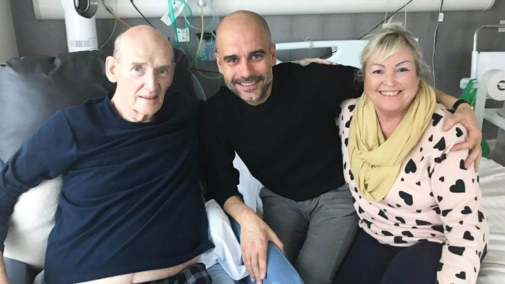 TRUE BLUES: Manager Pep Guardiola made a special visit to see Bernard whilst he received treatment in hospital and is pictured here along with Bernard's wife Karen