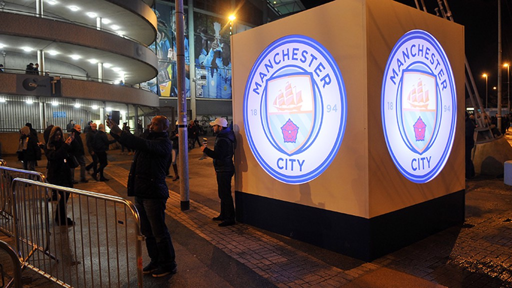 SQUARING THE CIRCLE: The new badge on display outside the Etihad Stadium