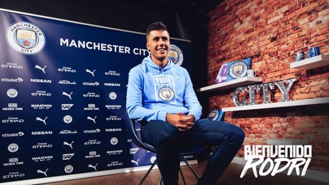 La primera entrevista de Rodri con el City.
