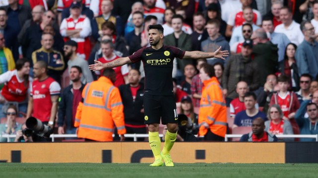 LETHAL: Aguero celebrates his third goal in four games for City.