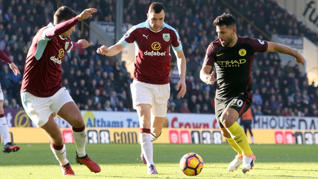 ON THE RUN: Aguero bursts goalward