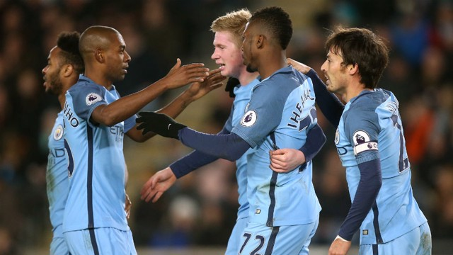 CHIEF TORMENTERS: Kelechi Iheanacho is hugged by Kevin De Bruyne after the Belgian played a key role in his goal