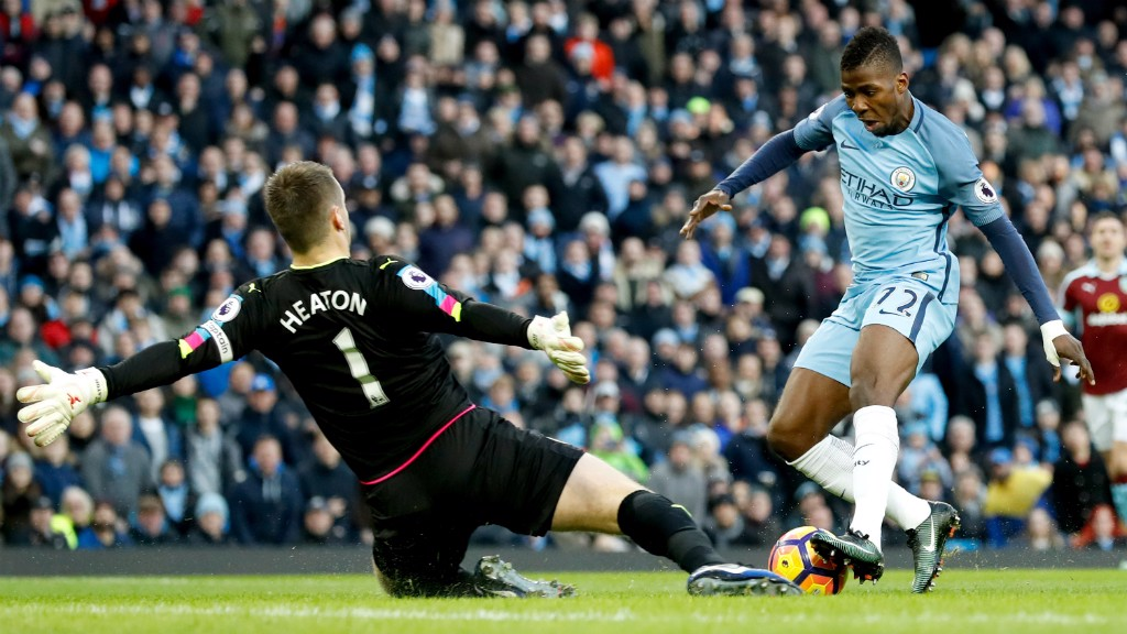 CHANCE: Kelechi Iheanacho is halted in his attempt to round the goalkeeper