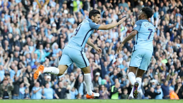 LEVELLER: Nolito celebrates with Raheem Sterling