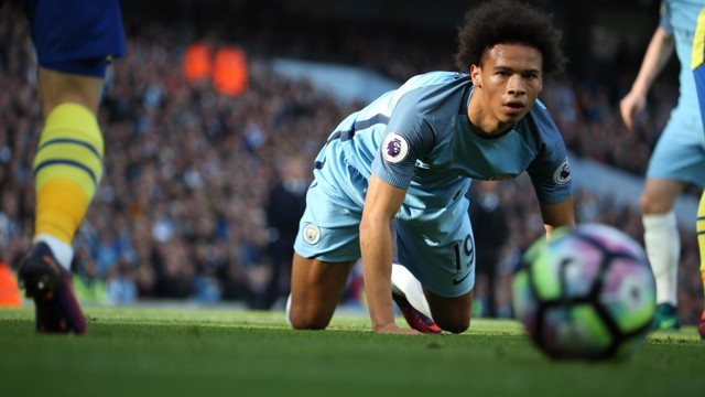 EYE ON THE BALL: Leroy Sane moments after he'd seen a penalty appeal turned down