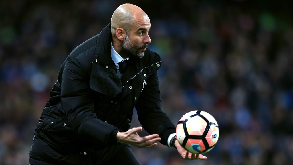 PEP: The City boss hurries up proceedings in the first half.