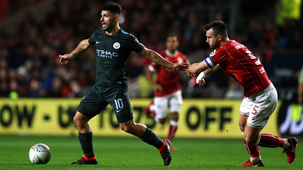 FORWARD THINKING: Sergio Aguero plots his route to goal