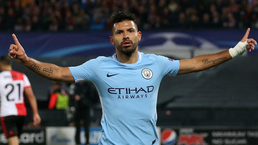 HALF-CENTURIAN: Sergio Aguero celebrates his 50th European goal
