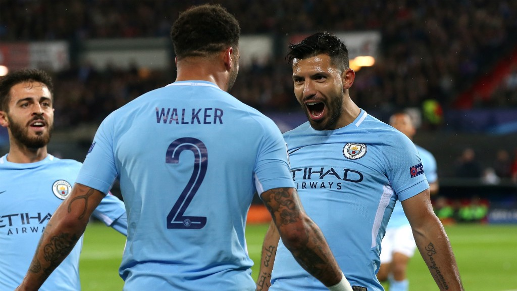 YEAH: Kyle Walker and Sergio Aguero celebrate