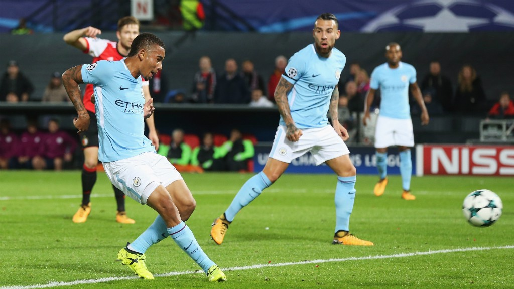COOL: Gabriel Jesus slots home after Benjamin Mendy's strike was parried