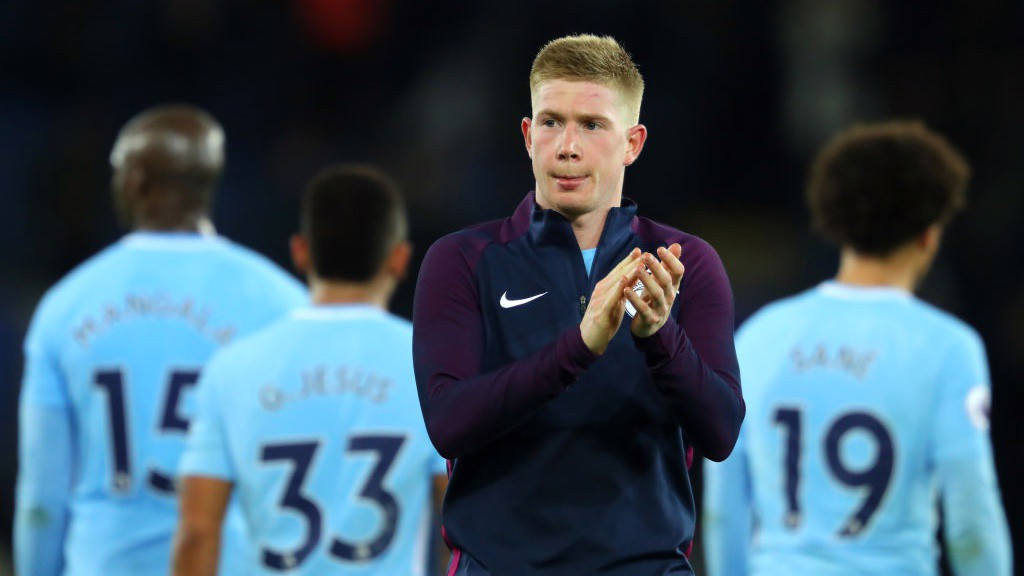KEV IN FORM: Man-of-the-match Kevin De Bruyne's strike seals a club-record 16th successive win in all competitions.
