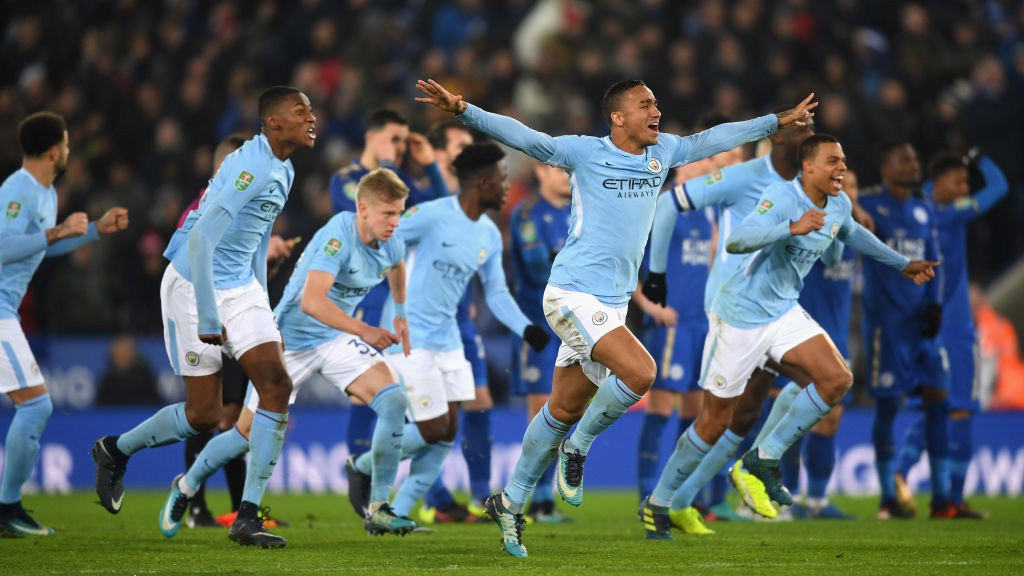 JUBILATION: City celebrate a nail-biting penalty shoot-out victory.