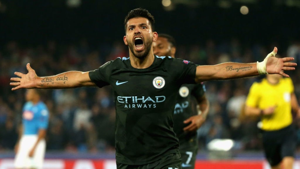 SPECIAL K: Kun's expression says it all as he breaks City's all-time scoring record