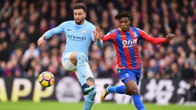 KEY BATTLE: Kyle Walker and Wilfired Zaha were in a fight for supremacy on City's right flank.