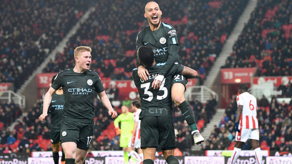 CLOUD 9: David Silva celebrates after scoring his second to double City's lead.