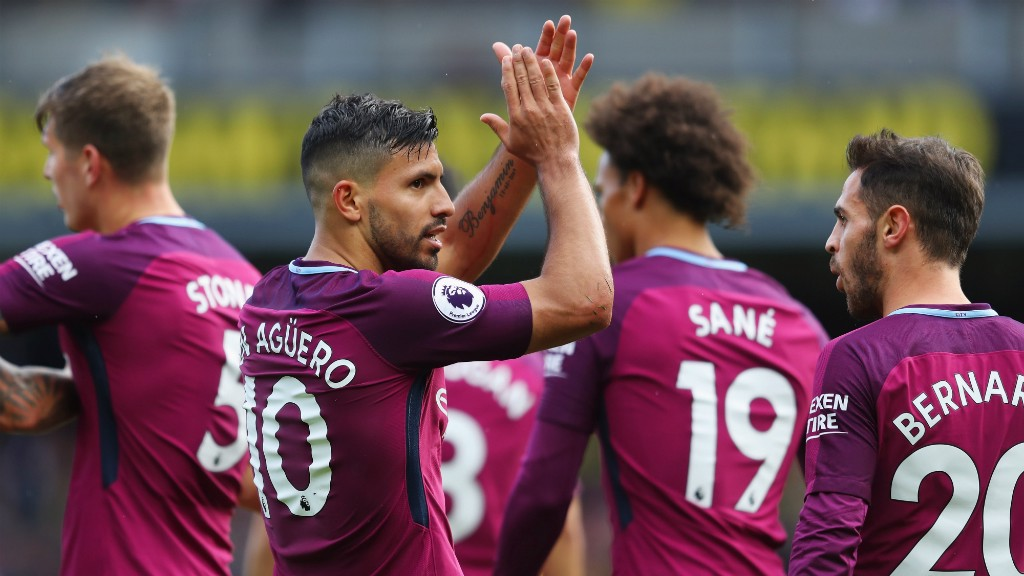 DEVASTATING DISPLAY: Sergio Aguero bagged a hat-trick at Watford