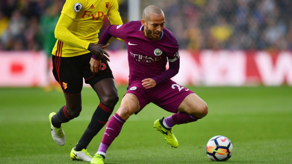 FRONT FOOT: David Silva looks to get City going at Vicarage Road