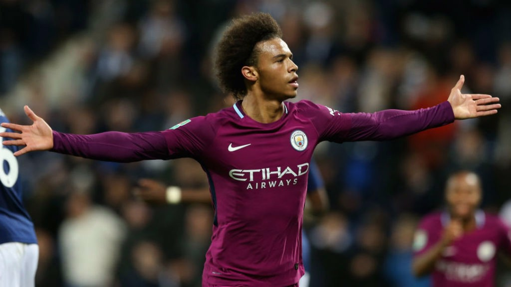 TWO GOOD: Leroy Sane celebrates his stunning second goal
