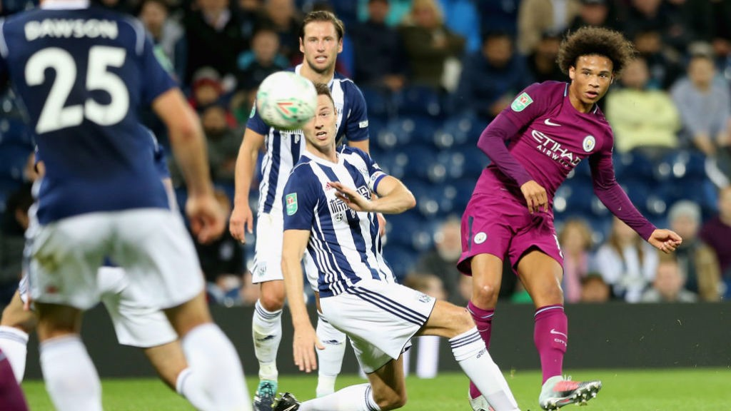 LETHAL WEAPON: Leroy Sane fires in a shot on the West Brom goal