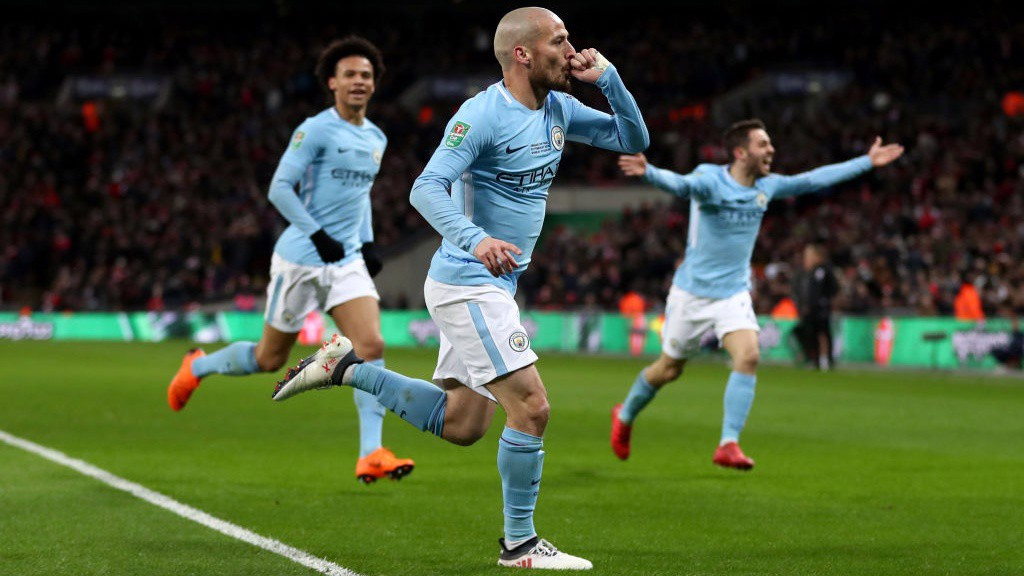 UNSTOPPABLE: David Silva celebrates extending the lead to three.