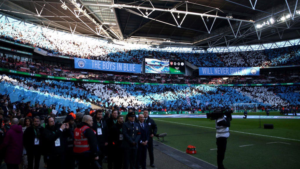 WALL OF BLUE: City fans in full voice at Wembley.