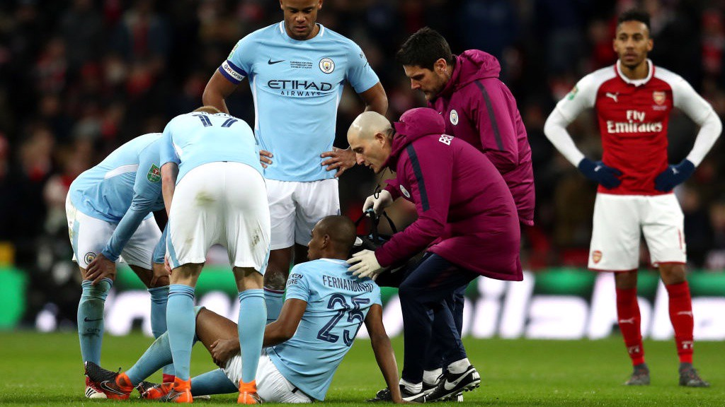 DISAPPOINTMENT: Fernandinho is forced off through injury.