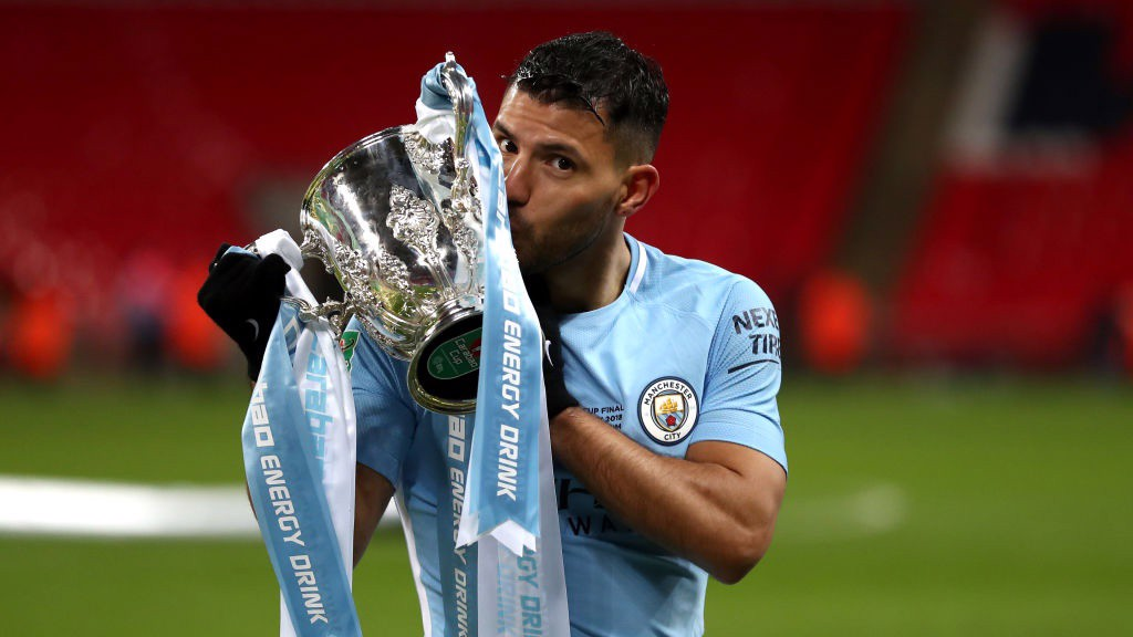 MAIN MAN: Sergio Agüero's first goal in a European domestic final sent City on their way.