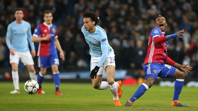 ACTION SHOT: Leroy Sane races down the wing.