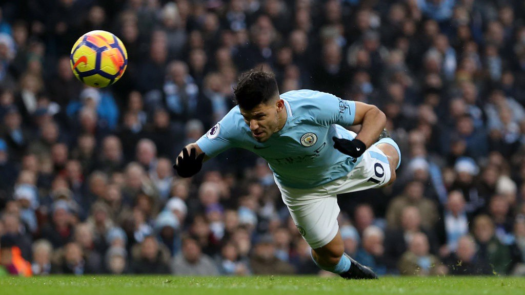 BULLET HEADER: Sergio Agüero breaks the deadlock in style.