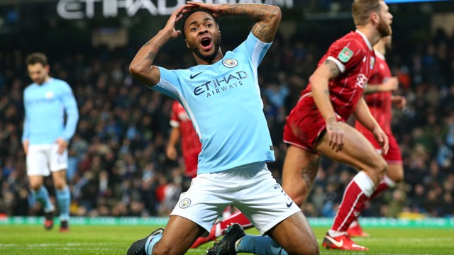 CLOSE: Raheem Sterling almost provides the perfect response but his lob is cleared off the line.