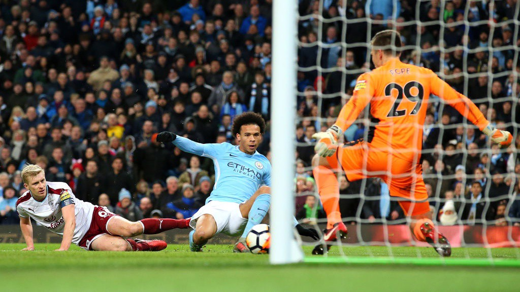 SANÉ STABS HOME: Leroy finds the bottom corner to extend City's lead.