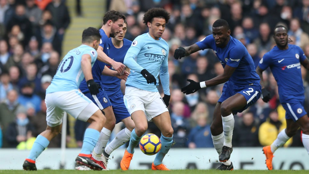LEROY: Sane battles against the opposition.