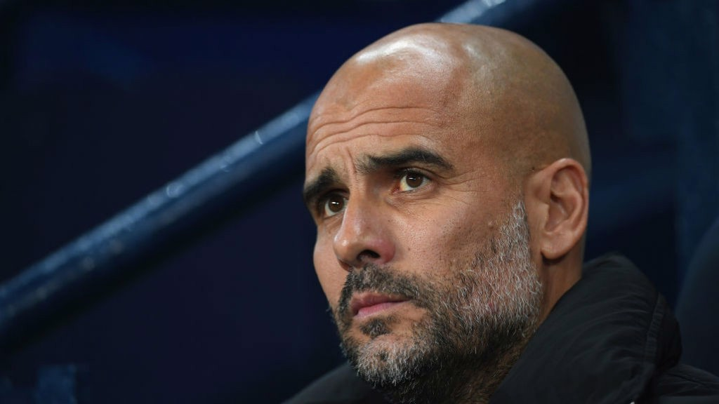 THE BOSS: Pep watches on during City v Feyenoord