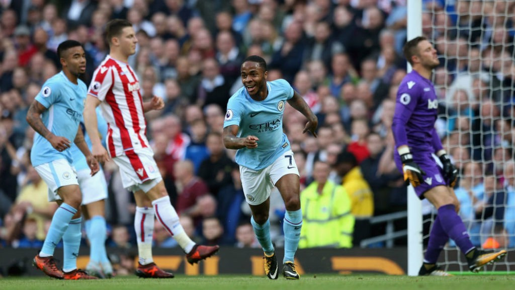 TWO GOOD: Raheem Sterling is all smiles after putting City 2-0 ahead