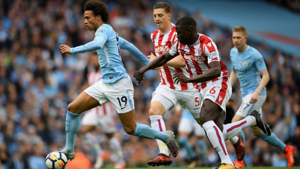 FRONT FOOT: Leroy Sane sets up a City attack