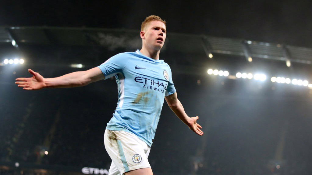 FLAWLESS: Kevin De Bruyne celebrates scoring City's second.