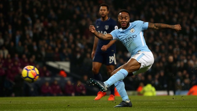 ROCKET RAHEEM: Raheem Sterling tests Spurs' defensive resolve.