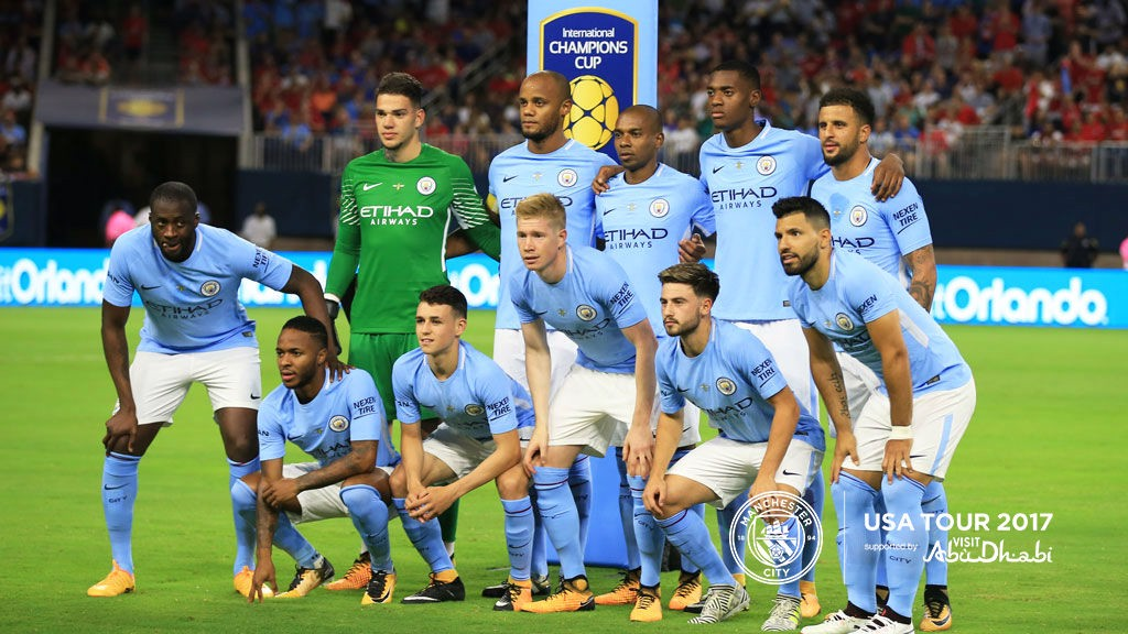 ACTION STATIONS: The City team prior to kick-off