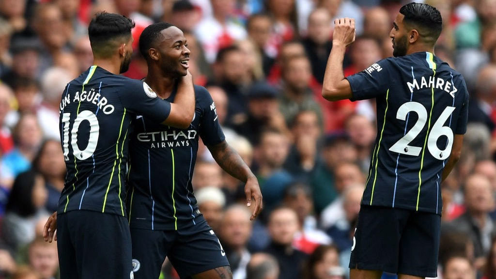 CELEBRATIONS: Sterling celebrates with Aguero and Mahrez after his thunderous strike takes us into the lead.