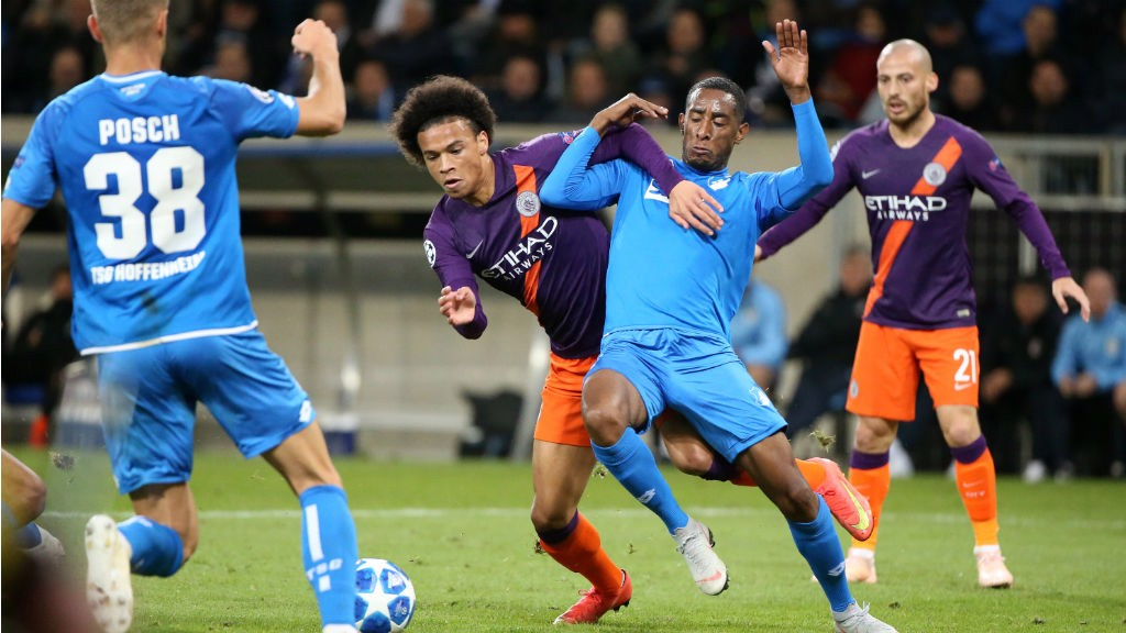 UP AND AT 'HEIM: Leroy Sane looks to cut a swathe through the Hoffenheim defence