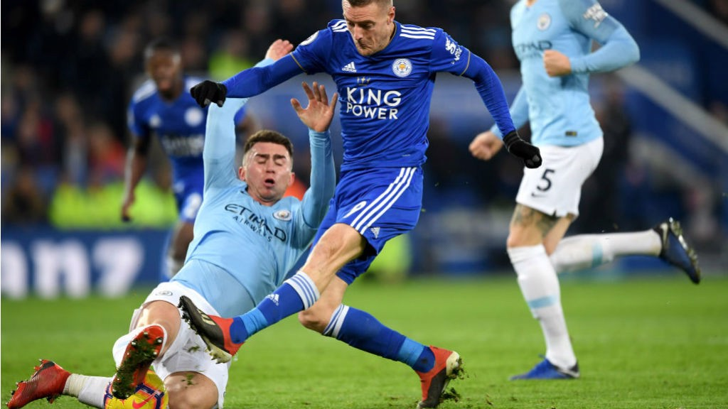 NICK OF TIME: Aymeric Laporte produces a crucial block to deny Jamie Vardy