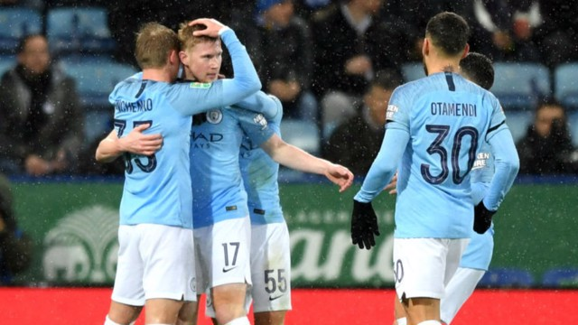 CELEBRATION TIME: Kevin De Bruyne and his colleagues are all smiles after his stunning strike