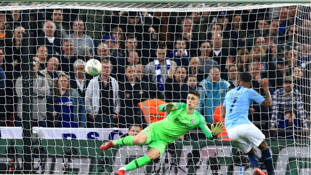 SPOT ON: Raheem Sterling converts the winning penalty to seal the Carabao Cup for City