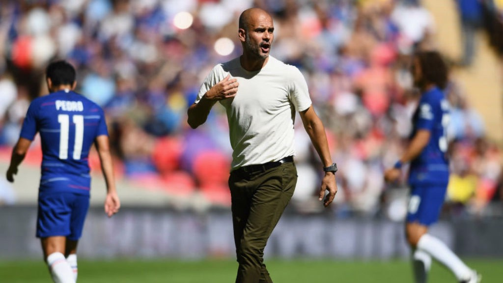 TALKING POINTS: Manager Pep Guardiola urges City on during Sunday's Community Shield clash with Chelsea
