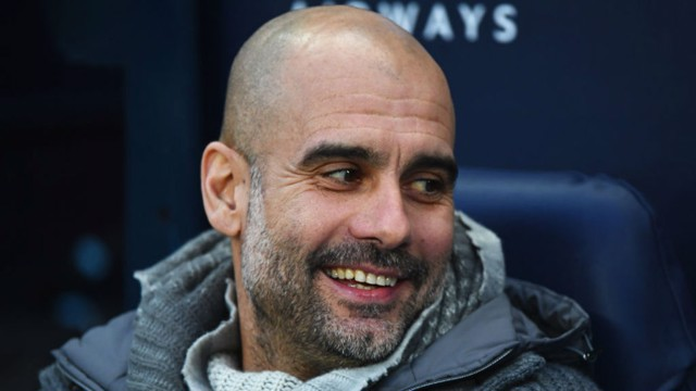 WHAT THE DOCTOR ORDERED: Pep's all smiles after City taken an early lead.