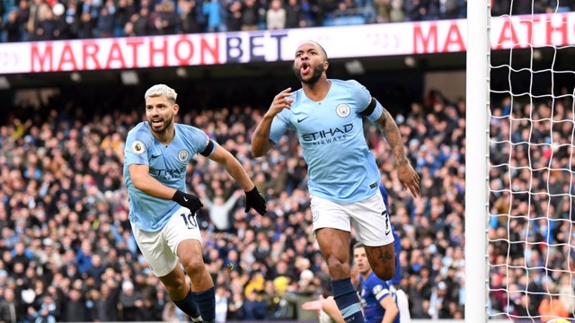 Raheem Sterling celebrates early goal