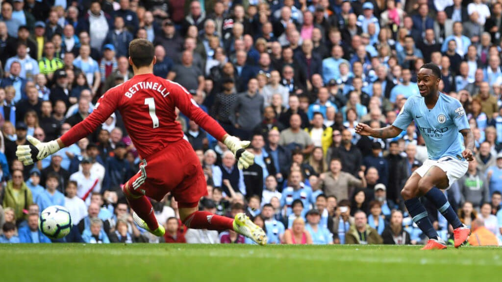 STERLING EFFORT: Raheem's shot is somehow saved by Bettinelli